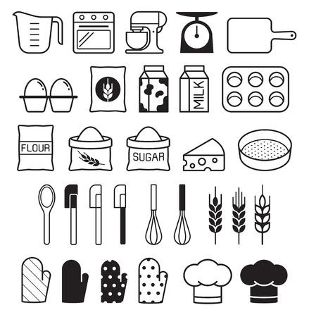 Bakery tool icons set. Vector illustration.  イラスト・ベクター素材