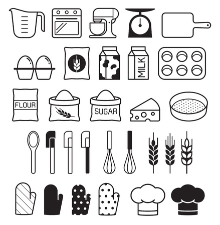 Bakery tool icons set. Vector illustration. Vettoriali