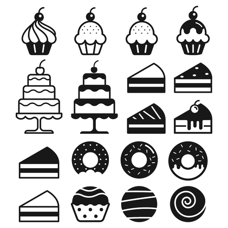 people: Bakery cakes icons set. Vector illustration.