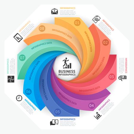 Business Infographics ontwerp sjabloon. Vector illustratie. Kan gebruikt worden voor workflow layout, diagram, aantal opties, opstartopties, webdesign Stock Illustratie