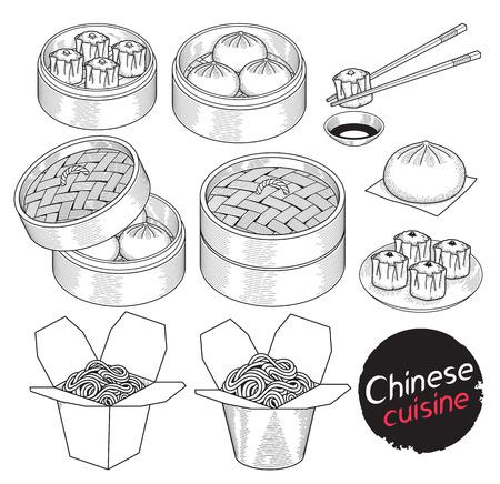 中華料理食品落書き要素は手描画スタイルです。ベクトル イラスト。