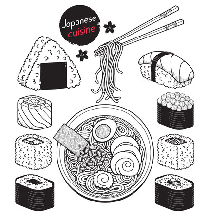 traditional culture: Japan food doodle elements hand drawn style. Vector Illustrations.