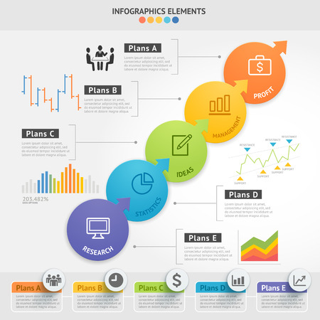 numbers abstract: Business Infographics design template.
