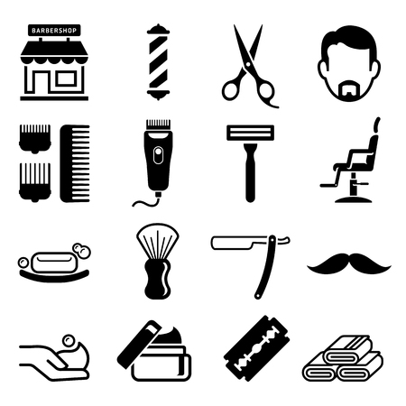 Set of barber shop icons. Vector illustrations.