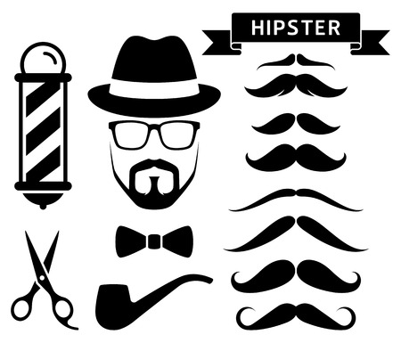 Set of hipster barber elements. Vector illustrations. Imagens - 88034965