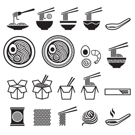 Noodle icons set. Vector illustrations.