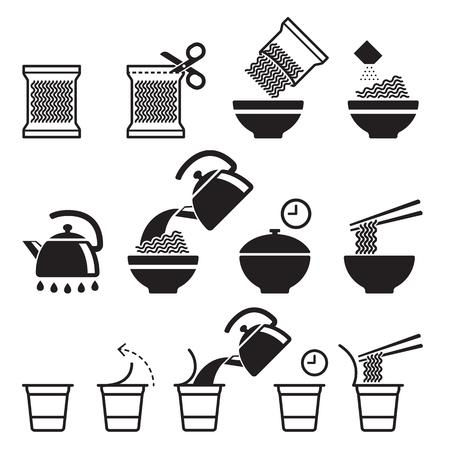 Ikonen der sofortigen Nudeln eingestellt. Vektorabbildungen. Standard-Bild - 88034969