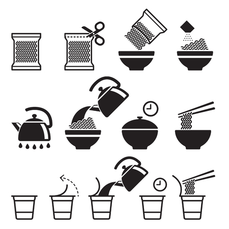 Instant noodles icons set. Vector illustrations.