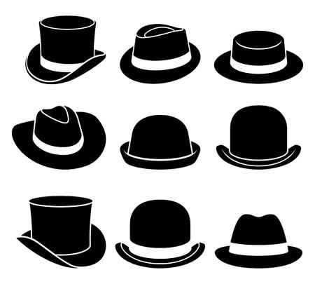 Vintage czapki ikony. Ilustracji wektorowych. Ilustracje wektorowe