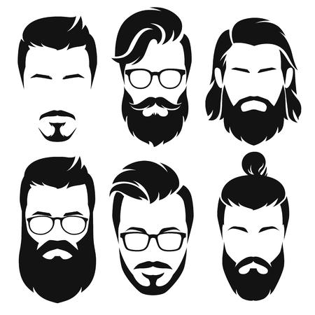 Conjunto de silueta hombres barbudos caras estilo hipsters con diferentes cortes de pelo. Ilustración vectorial