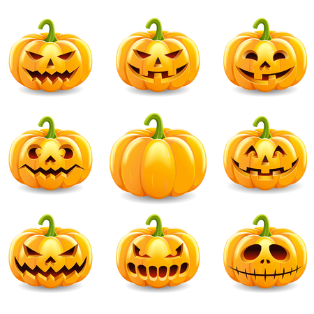 Set of  halloween pumpkins collection isolated on white background. Vector illustration.