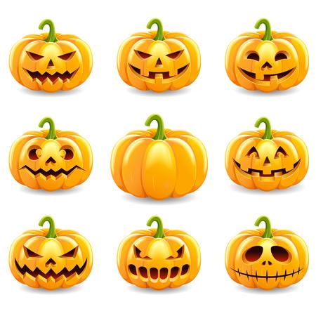 Reeks van Halloween-pompoeneninzameling op witte achtergrond wordt geïsoleerd die. Vector illustratie.