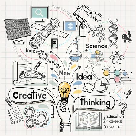 落書きアイデア図概念。ベクトルの図。