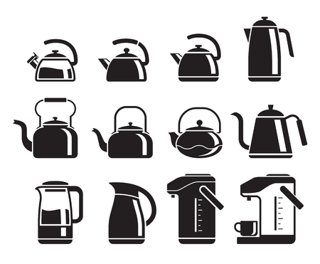 Kettle icons set. Vector illustrations. Illustration
