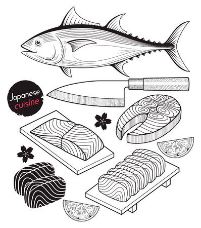 Salmon fish meat. Japan food doodle elements hand drawn style. Vector Illustrations.