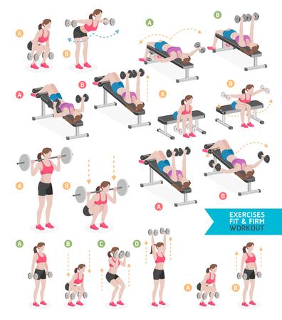 Frauentrainingseignung, Aerobic und Übungen. Vektor-Illustration.