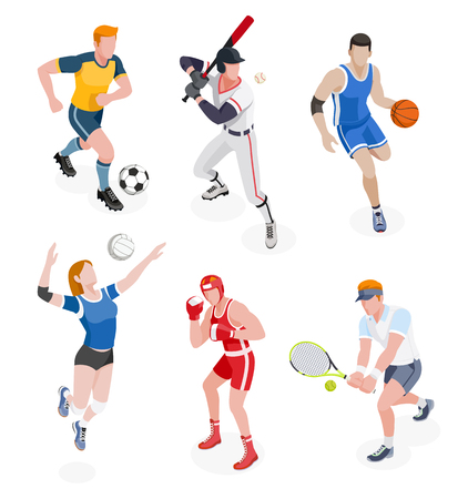 Group of sports people. Vector illustrations. Çizim