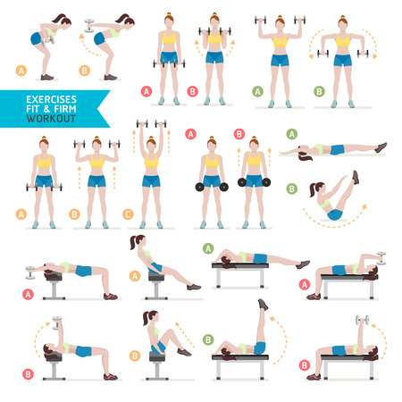 Woman workout fitness, aerobic and exercises. Vector Illustration.  イラスト・ベクター素材
