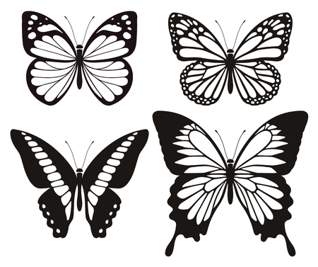 Butterfly silhouette icons set. Vector Illustrations. Çizim
