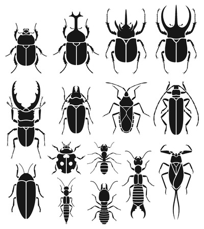 Insect icons set. Vector Illustrations.