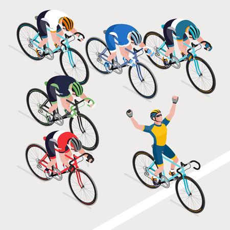 ロード自転車レースで男のサイクリストのグループは、勝者の自転車レースを得ました。ベクターイラストレーター。