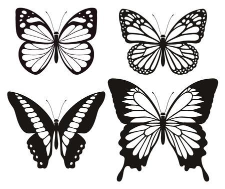 Silhouette de papillon icônes set. les nerfs vectoriels Banque d'images - 94230946