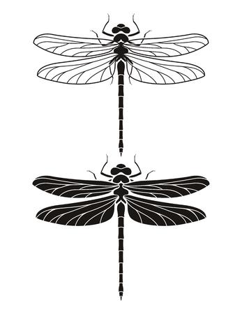 Dragonfly silhouet pictogrammen instellen. Vector illustraties.