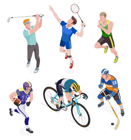 Groep sportmensen. Vector illustraties