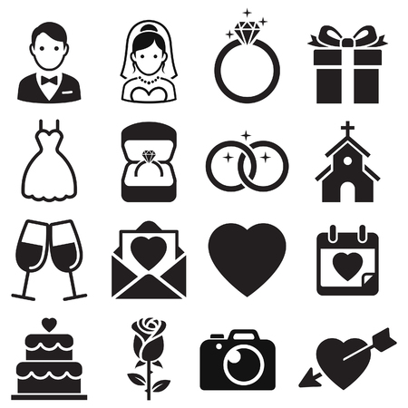 Wedding icons. Vector Illustrations.