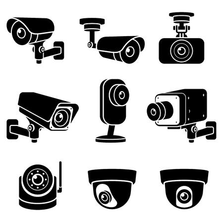 Icone di telecamere a circuito chiuso. Illustrazioni vettoriali. Vettoriali