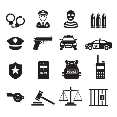 Ikony policji. Ilustracje wektorowe. Ilustracje wektorowe