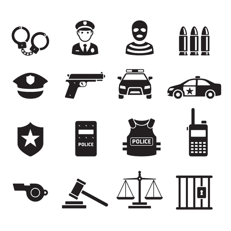 Police icons. Vector illustrations. Stok Fotoğraf - 96055581