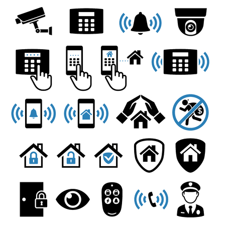 Security system network icons. Vector illustrations. Çizim