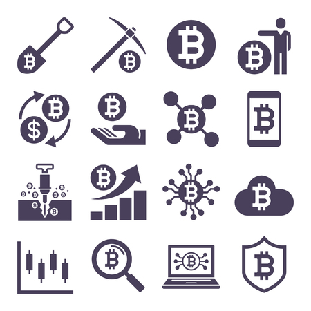 Cryptocurrency mining icons. Vector illustrations.