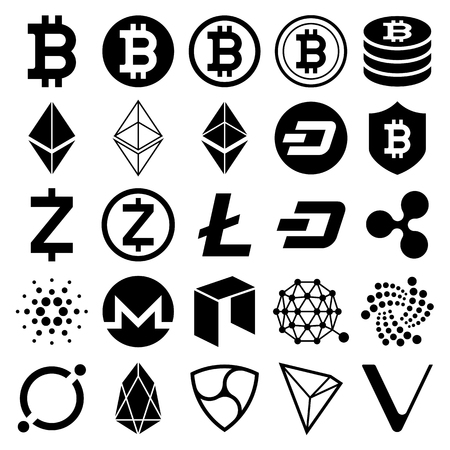 Cryptocurrency icons. Vector illustrations. Ilustracja