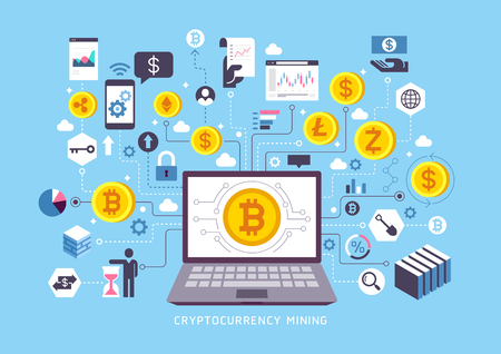 Cryptocurrency mining conceptual design. Vector illustrations. Иллюстрация