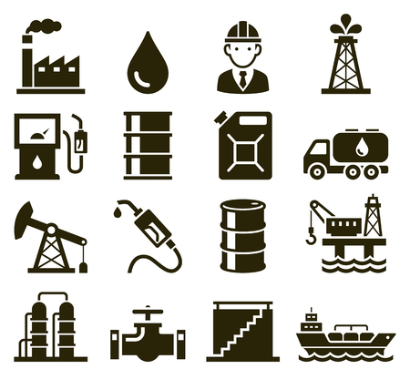 Oil industry icons Vector illustrations. Illustration