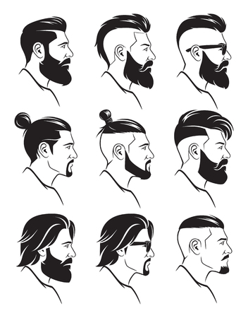 Set of silhouette bearded men's faces in hipster style. Vector illustration. Vettoriali