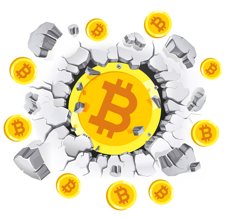 Cryptocurrency mining conceptual design. Bitcoin in old Plaster wall damage. Vector illustrations. 일러스트