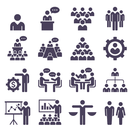 Group of people icons set vector illustrations. 向量圖像