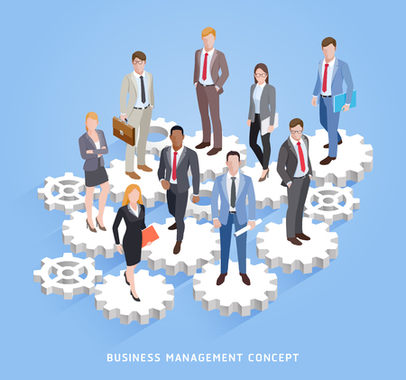 Business teamwork management conceptual. Business men and women standing on cogs and gears. Vector illustrations. Illustration