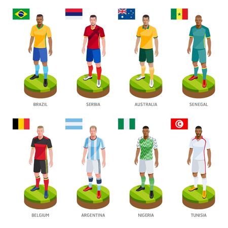 Gruppo di calcio giocatore di football jersey nazionale della squadra del mondo. Illustrazione vettoriale.