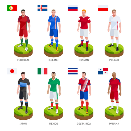 Group soccer football player jersey national world team. Vector Illustration.