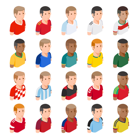 Soccer football player avatar icons. Vector illustrations.