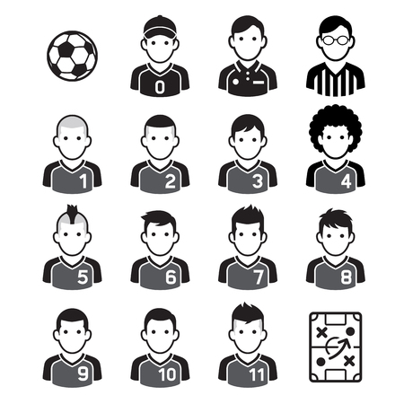 Soccer football player black icons. Vector illustrations.