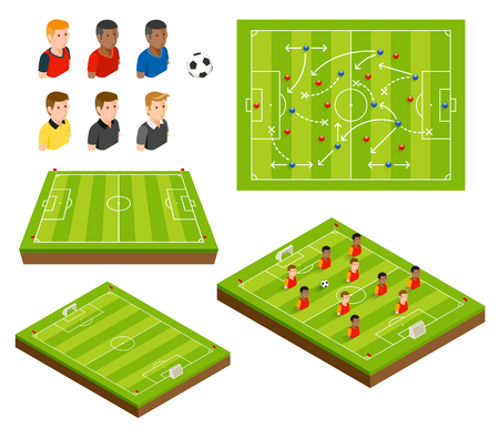 Soccer football field and soccer player isometric icons. Vector illustrations. Illustration
