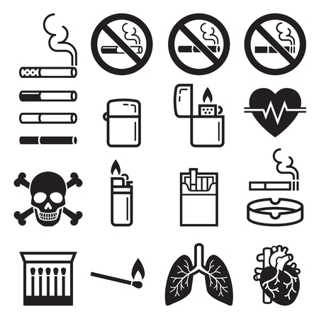 Cigarette icons. Vector illustrations.