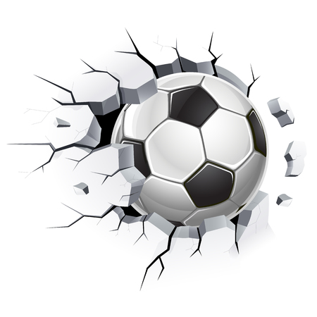 Ballon de soccer ou football et dommages au vieux mur de béton. Illustrations vectorielles.