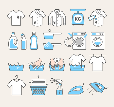 laundry service icons. Vector illustrations.  イラスト・ベクター素材
