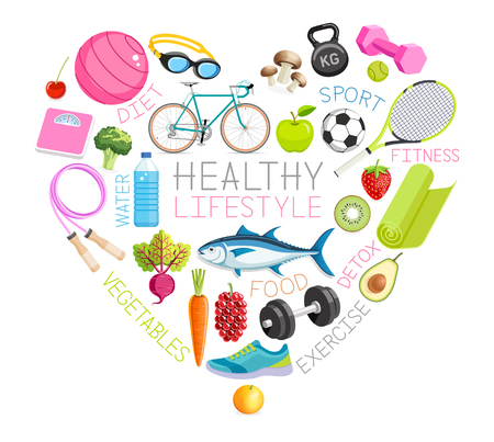 Healthy lifestyle conceptual design. Vector Illustrations.
